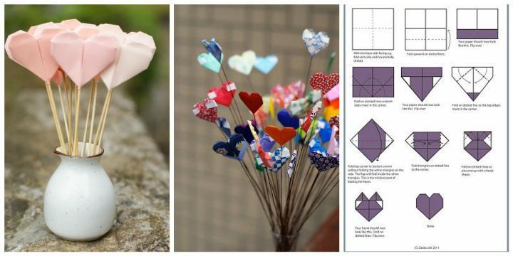 Подарок маме - бумажные сердечки