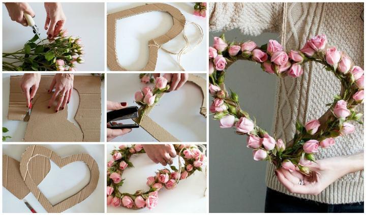 Подарок маме - сердце из цветов