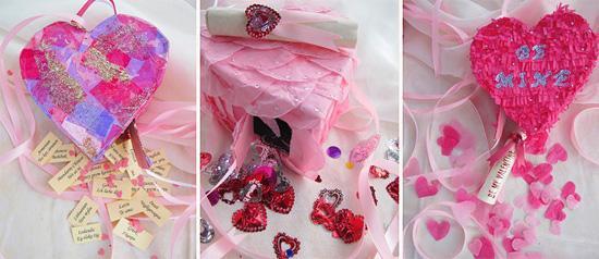 идея оформления открытки на 14 февраля, на день валентина - пиньята в виде сердца