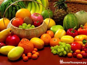 корзина с экзотическими фруктами