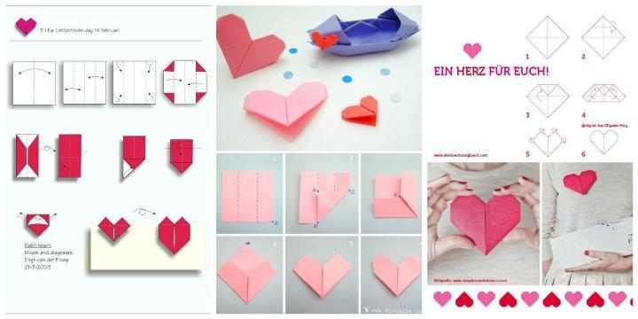 Подарок маме - как сделать сердечки из бумаги