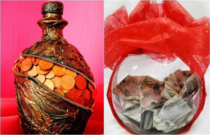 Ваза из денег для молодоженов к свадьбе